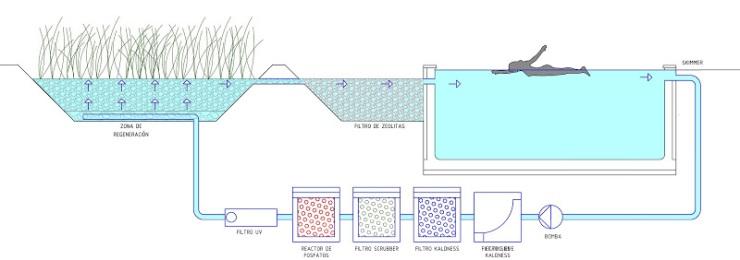 Piscina naturalizada, piscina biologica, biopiscina, Piscina tecnificada urbanismo